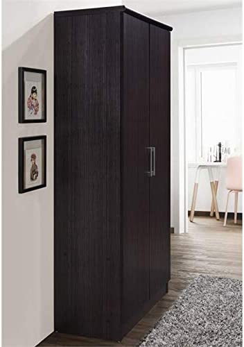 Pemberly Row 2 Door Armoire with 4 Shelves in Chocolate