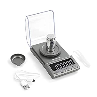 Digital Milligram Scale, 100g x 0.001g NEWACALOX Rechargeable High Precision Jewelry Scale,Portable Jewelry Scale with Calibration Weights Tweezers Weighing Pans and USB Cable