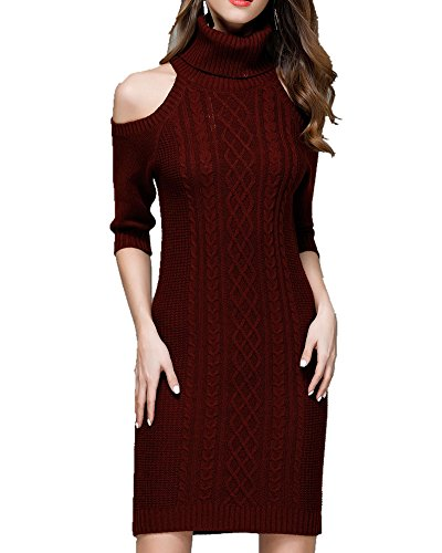 Sorrica Women's Casual Turtleneck Half Sleeve Cold Shoulder Bodycon Knitted Pencil Sweater Dress (Wine Red, S)