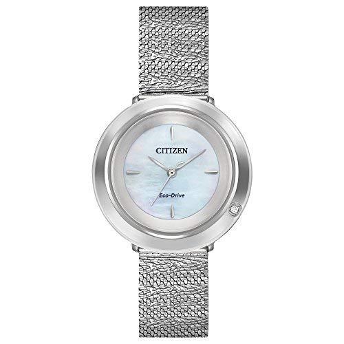 Watch Mother Pearl Womans Of (Ladies' Citizen Eco-Drive L Ambiluna Stainless Steel Mesh Bracelet Watch EM0640-58D)