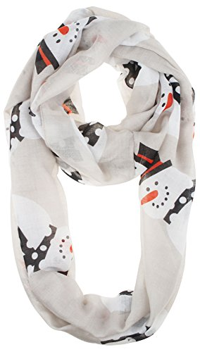 VIVIAN & VINCENT Soft Light Elegant Merry Christmas Sheer Infinity Scarf Snowman C7 -