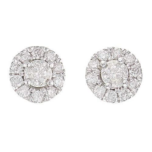 - 10K White Gold Diamond Stud Earrings with Friction Back (0.50 cttw, I-J Color, I1-I2 Clarity)