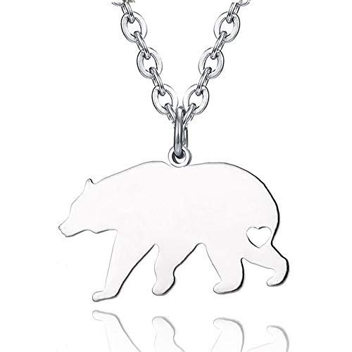 Bear Steel Stainless (WPFdesign Stainless Steel Bear Necklace Jewelry Pendant)