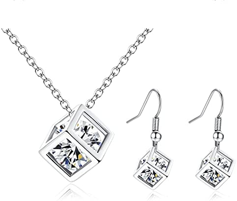 925 silver Store Earring Necklace Set for Women, Hollow Square Pendant, Fashion Crystal Pendant Necklaces, Earrings Long Jewelry Set, Valentine's Day Necklace Crystal Fashion Jewelry