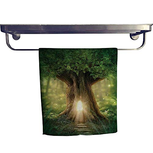 (HoBeauty home Sports Ttowel,Tree of Life Enchanted Forest Mystical Lights Digital Printed Wall Green Yellow Brown,Ultra Soft, Cozy and Absorbent W 12