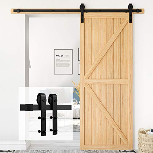 "Homlux 6ft Heavy Duty Sturdy Sliding Barn Door Hardware Kit Single Door - Smoothly and Quietly - Simple and Easy to Install - Fit 1 3/8-1 3/4"" Thickness Door Panel(Black)(J Shape Hangers)"
