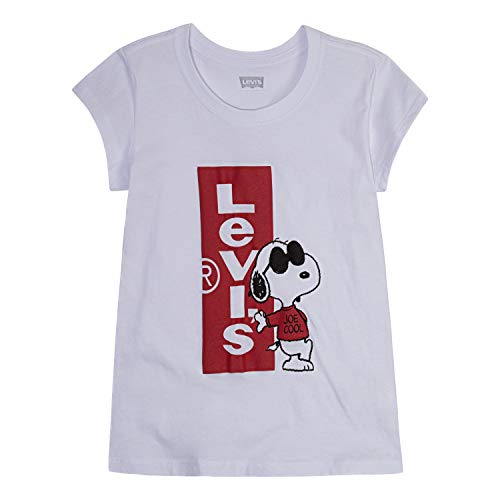 Levi's Girls' Big Graphic Logo T-Shirt, White Snoopy, -