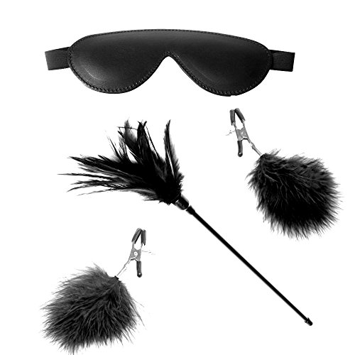 Leather Blindfold and Feather Tickler Nipple Clamps Black for Adults Sex Play Whip Eye Erotic Elastic Mask Spanking Paddle Couple Fetish BDSM Role (Zoro Fancy Dress)