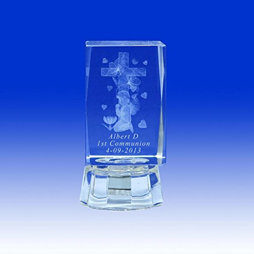 First Communion (12 PCS) Comunión My 1st Communion Personalized Custom Laser Etched Engraving 3D Praying boy or Girl Cross Crystal (2.5