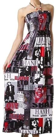 FONewsprint01A-7931 Magazine Newsprint Graphic Beaded Halter Smocked Bodice Maxi / Long Dress - Red / Small