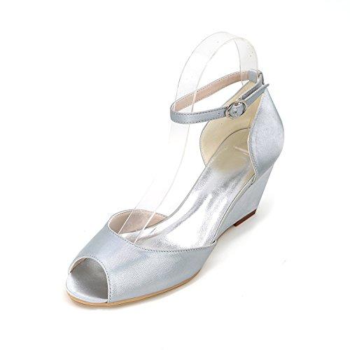 Hochzeit Kleidung Frauen Schuhe Satin mit Qualität Face Schuhe Keil Qingchunhuangtang Fisch Mund Schuhe Arbeitsschuhe Frauen große Hohe Fersen der BT4nRZq