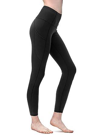 b94146e7762315 Yavero Yogahose für Damen Blickdicht Sporthose Hoher Bund Sport Leggings  Bauchkontrolle Laufhose mit 2 Seitentaschen und 1 versteckte Tasche