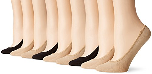 PEDS Women's Ultra Low Microfiber Liner with Gel Tab (6 & 9 Pairs), Nude/Black, Shoe Size: 5-10
