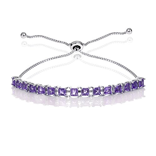 GemStar USA Sterling Silver Amethyst 3mm Princess-cut Adjustable Bolo Pull-string Tennis Bracelet