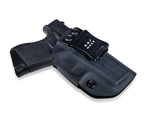 B.B.F Make IWB KYDEX Holster Fit: Glock 43/43X | Retired Navy Owned Company | Inside Waistband | Adjustable Cant (Black, Left Hand Draw (IWB))
