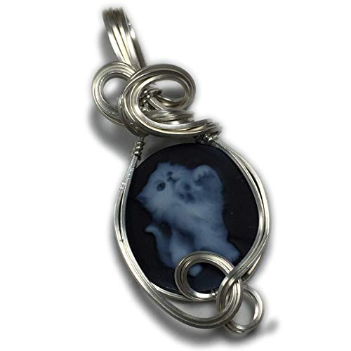 Rocks2Rings Kitten Cameo Pendant Cat - Sterling Silver Authentic German Carved Agate with Black Leather Necklace Jewelry - Cameo Blue Pendant Agate