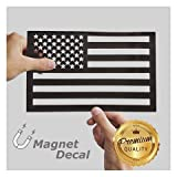 #9: WHITE RHINO American Flag Decal Magnet Cut-Out Black Truck Jeep Wrangler Decals 5.5 X 9 inches