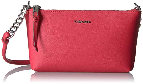 (Calvin Klein Hayden Key Item Saffiano Top Zip Chain Crossbody, Watermelon )
