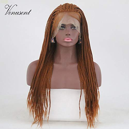 24inch Brown Box Braided Synthetic Wigs Cosplay Party Heat Resistant Fiber Hair Wig Long Straight Hand Tied Lace Front Wig with Baby Hair (Dark Blonde)