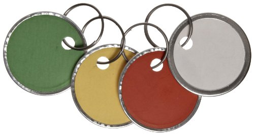 Avery Assorted Split Ring Metal Rim Key Tag , 1-1/4 Inches, Pack of 50 (11-026) (White Rim Metal)