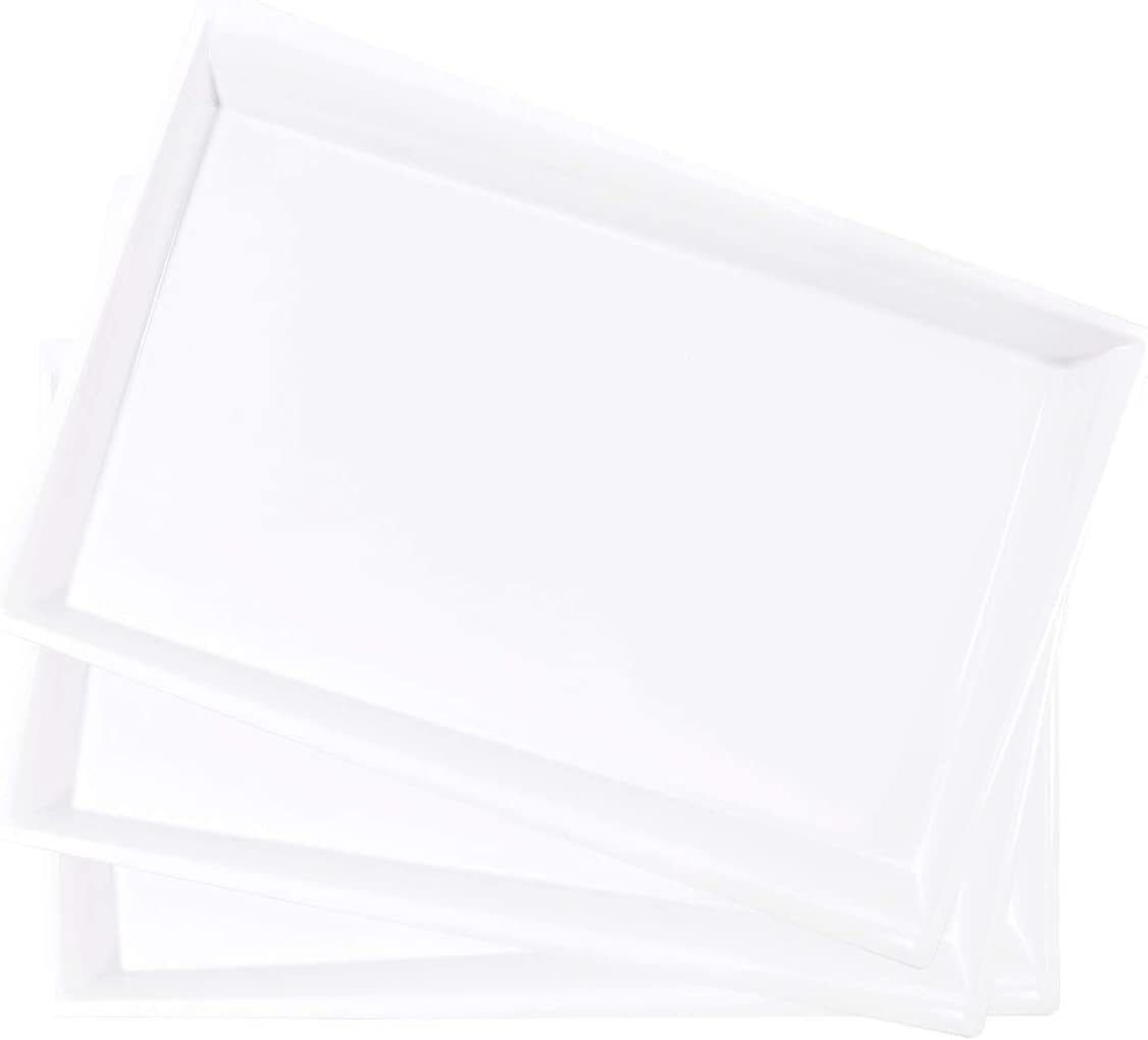 LLSF 12 Pack White Plastic Serving Tray, 15