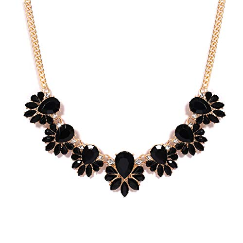 Women's Bib Necklace Boho Bubble Chunky Collar Necklace Teardrop Flower Necklace Party Prom Jewelry (Black) ()
