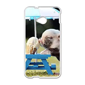Diy Little Pig Phone Case for HTC One M7 White Shell Phone JFLIFE(TM) [Pattern-1]