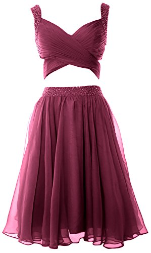 Piece Dress MACloth Chiffon Formal Evening Dress 2 Homecoming Weinrot Prom Women Mini fggXxqE1
