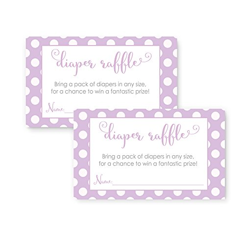 Purple Baby Shower Invitations - Purple Diaper Raffle Invitation Insert Card Baby Shower Game
