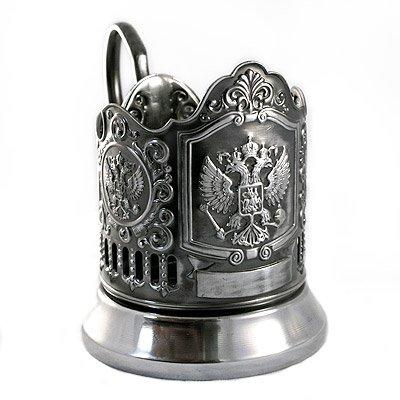 RUSSIAN COAT ARMS RUSSIA IMPERIAL EAGLE TEA GLASS METAL HOLDER CLASSIC GIFT KOLCHUGINO ()
