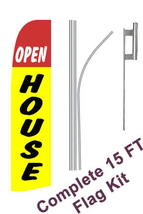 "NEOPlex - ""Open House Yellow"" Complete Flag Kit - Includes 12' Swooper Feather Business Flag With 15-foot Anodized Aluminum Flagpole AND Ground Spike"