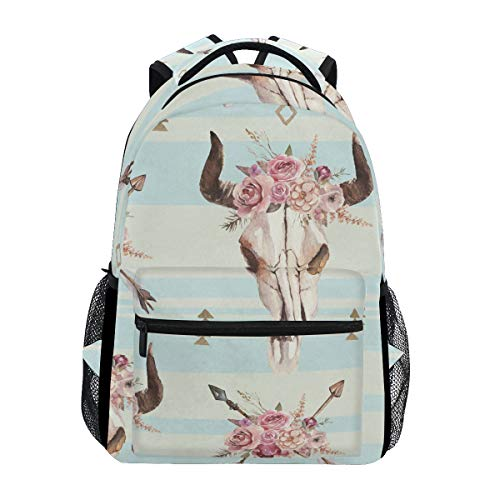 XLING Backpacks Floral Tribal Bull Skull Multi Function School College Canvas Book Bag Travel Hiking Camping Canvas Daypack (The Best Backpack Blower)