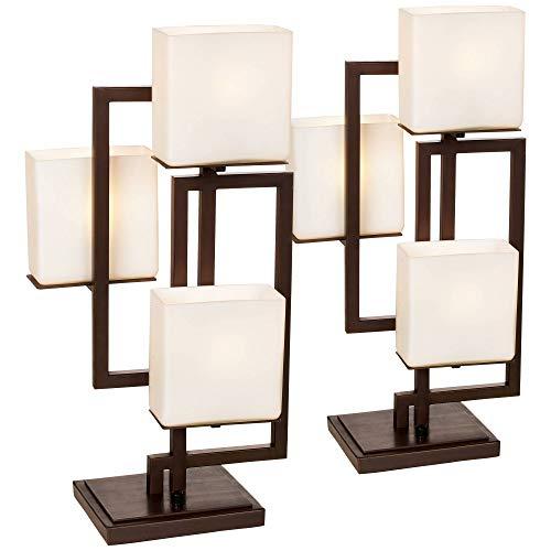 Roman Modern Table Lamps Set of 2 Roman Bronze Metal Opal Glass Rectangular Shade for Living Room Family Bedroom – Possini Euro Design