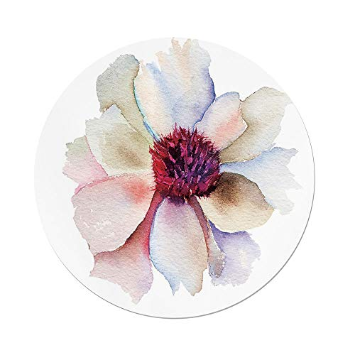Ind Food Plant (iPrint Polyester Round Tablecloth,Watercolor,Flower Blossom Artwork Tender Petals Romantic Dreamlike Garden Plants Decorative,Red Pink Cream,Dining Room Kitchen Picnic Table Cloth Cover Outdoor Ind)