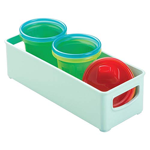 mDesign Plastic Baby Food Kitchen Refrigerator, Cabinet, Pantry Storage Organizer Bin with Handles for Breast Milk, Pouches, Jars, Bottles, Formula, Juice Boxes - BPA Free, 10 x 4 x 3 - Mint Green