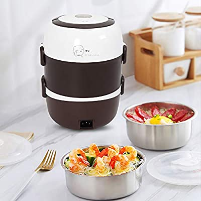 Wupyi Lunch Box 3 Layers 2l Portable Electric Heating Bento Lunch Box Food Storage Warmer Container Rice Cooker 110v 200w Stainless Steel Pp Amazon Sg Home
