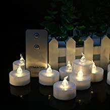 Warm White Flameless Battery-operated Unscented Fake Tealights Candles with Timer (6 Hrs on 18 Hrs Off) 24pcs Realistic Bright Operated Electric votive candle Flickering Timing Function LED Tea Lights