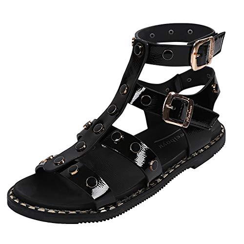 Women Rivet Strap Sandal - Girl Cutout Slingback Flat Sandals - Teenager Gladiator Shoes Black
