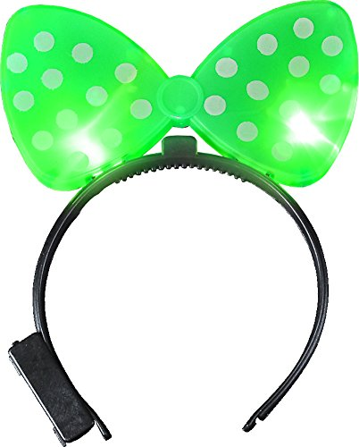 Child's Polkadot Bowtie Light Up Green Bow Headband Costume Accessory