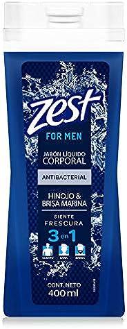 ZEST FOR MEN Jabón Líquido Corporal HINOJO Y BRISA MARINA para hombre 400ml