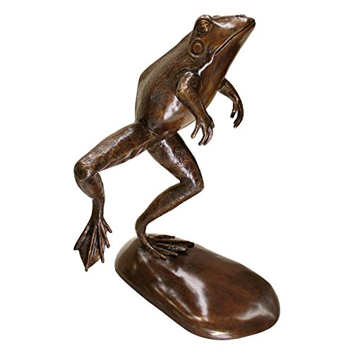 Design Toscano Giant Leaping  Spitting Frog Cast Bronze Garden Statue