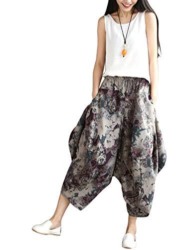 Sciolto Pantaloni Uomo Stile Yoga Besbomig Grigio Boho Gamba Harem Hippie Larga Donna Sport Gli Traspirante 8Bq4R