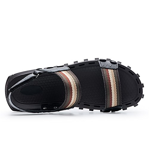 for Slip Men Slippers��Genuine Black Beach Summer Toe Open Cowhide Casual Shoes Sandals Leather Handwork Ruiyue Non BO6vww