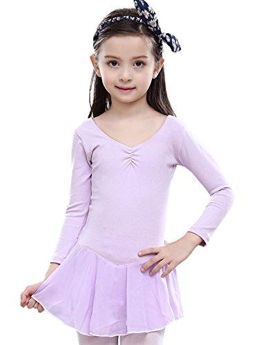 (Kids Girls Ballerina Dancewear Cotton O Neck Ballet Dress Latin Somba)