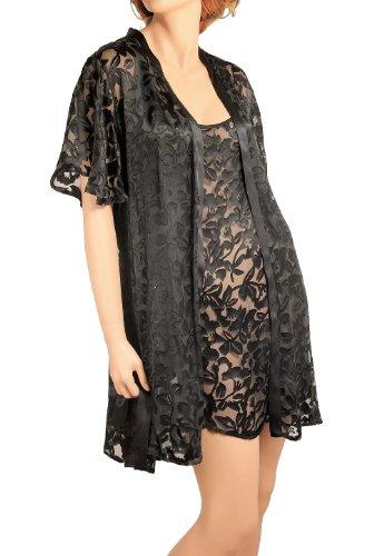 Nyteez Womens Peignoir Nightgown and Robe Set - Silk Burnout (XXlarge, Caviar)