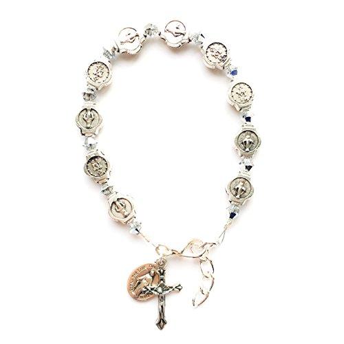 - Rana Jabero Silver Swarovski Crystal Beaded Miraculous Medal Crucifix Cross Charm Religious Bracelet