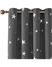 Deconovo Foil Print Solid Color Silver Star Print Thermal Insulated Blackout Curtain Window Blackout Drapes for Living Room 2 Panels