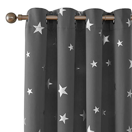 Deconovo Foil Print Star Blackout Curtains Grommet Top Room Darkening Thermal Insulted Window Treatment for Living Room 52 x 45 Inch Grey 1 Pair