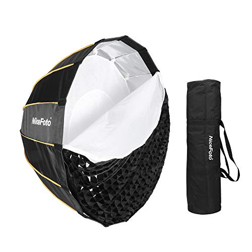 Nicefoto LED-Φ90cm Umbrella Softbox Photography Studio SoftBox with Grid Carry Bag Diameter 90cm /35inch for Aputure 120D 120D II Bowens Mount LED Flash Light for Portrait Wedding Product Photography