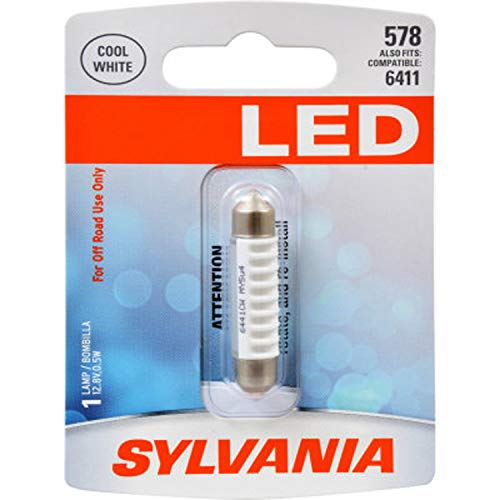 SYLVANIA - 578 41mm Festoon LED White Mini Bulb - Bright LED Bulb, Ideal for Interior Lighting - Map, Dome, Cargo and License Plate (Contains 1 Bulb)